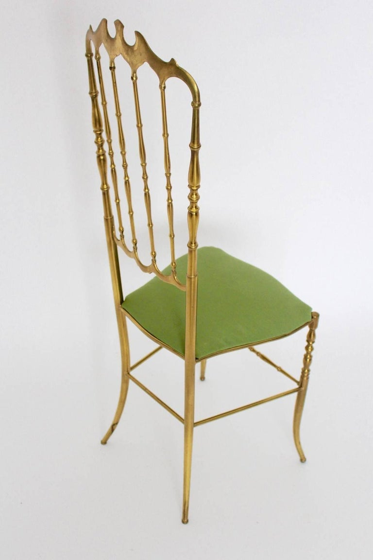 Italian Mid Century Modern Brass Vintage Chiavari Chair, 1950s, Italy For Sale