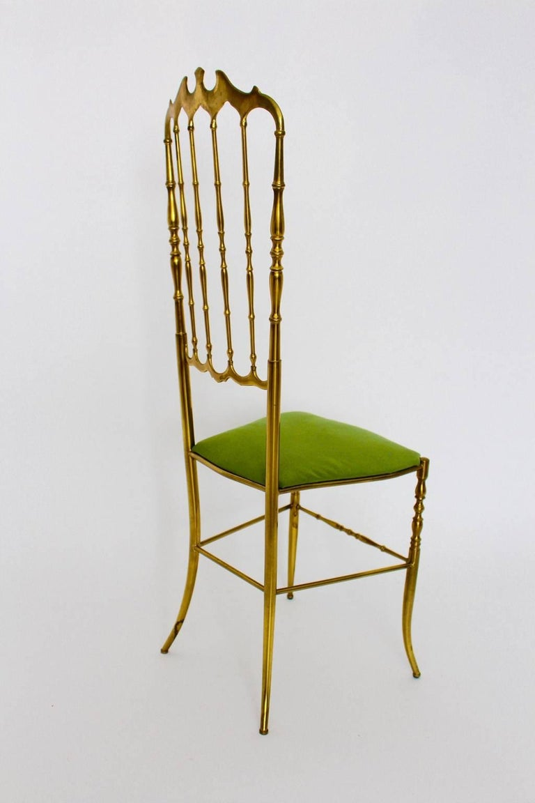 Mid Century Modern Brass Vintage Chiavari Chair, 1950s, Italy In Good Condition For Sale In Vienna, AT