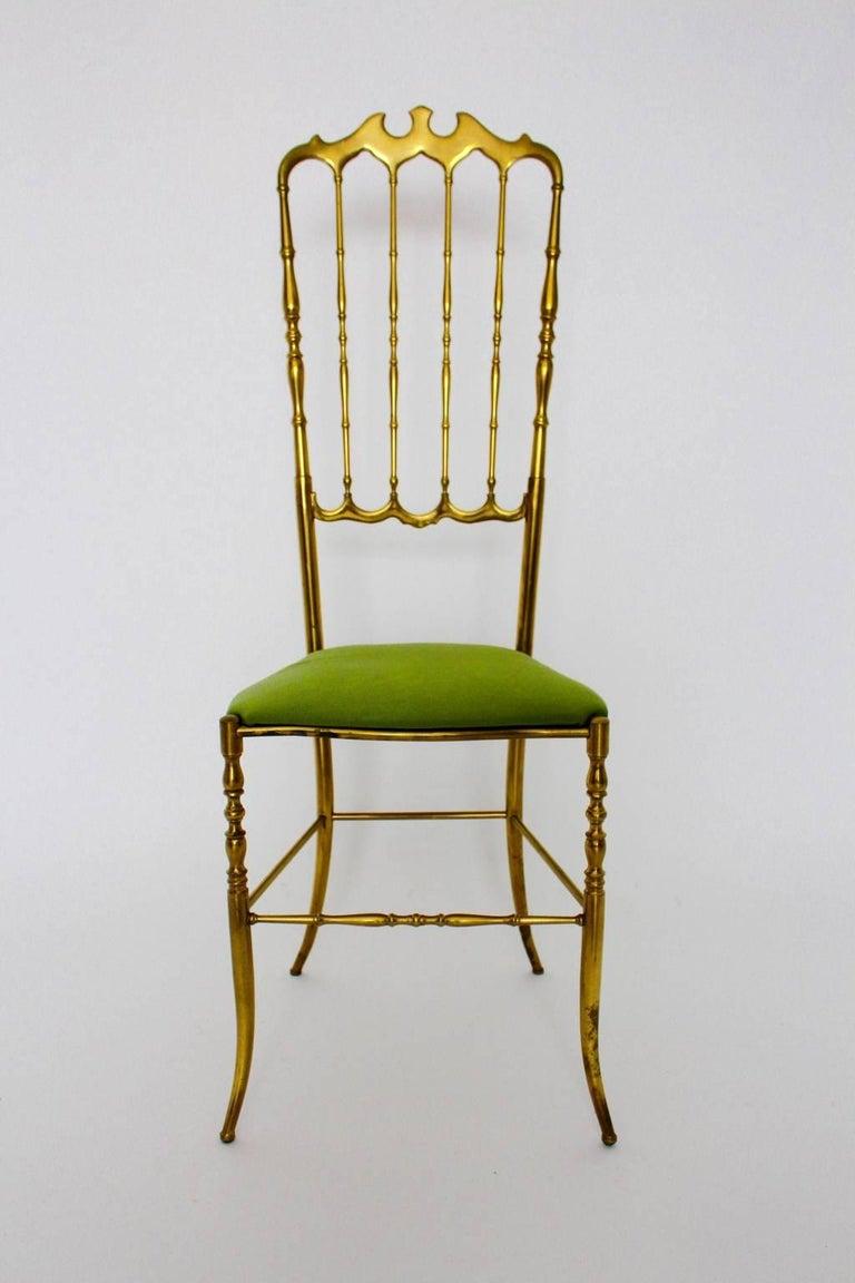 20th Century Mid Century Modern Brass Vintage Chiavari Chair, 1950s, Italy For Sale