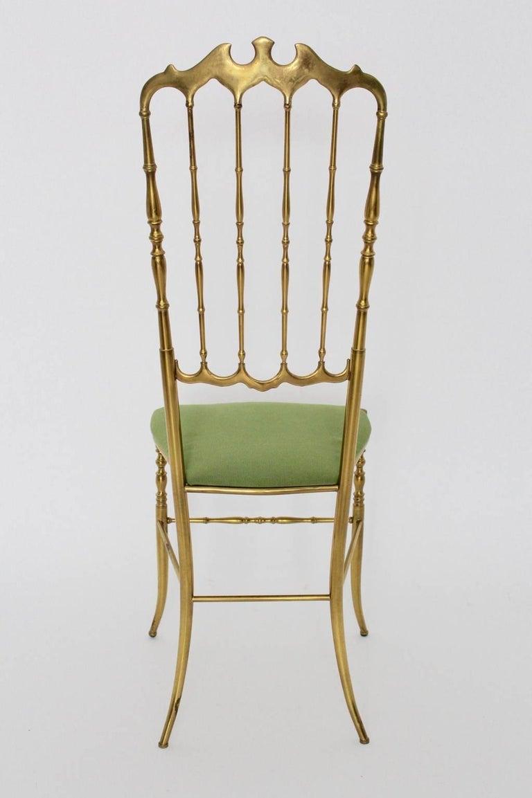 Mid Century Modern Brass Vintage Chiavari Chair, 1950s, Italy For Sale 1