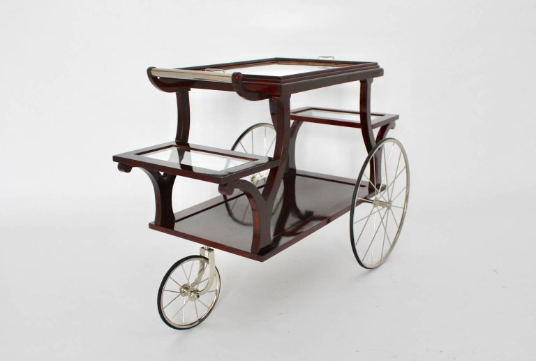 Faceted Jugendstil Bar Cart in the Style of Adolf Loos, circa 1902, Vienna For Sale