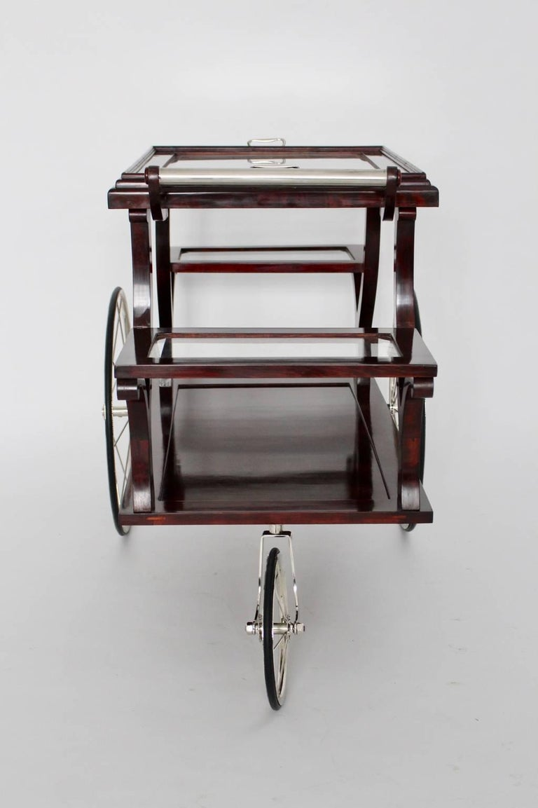 Mahogany Jugendstil Bar Cart in the Style of Adolf Loos, circa 1902, Vienna For Sale