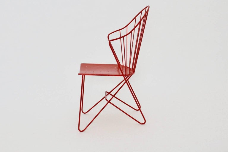 Mid-Century Modern Red Astoria Vintage Side Chair by J.O.Wladar and V. Moedlhammer  Sonett c 1955 For Sale