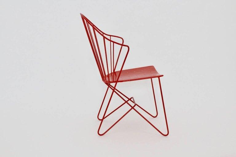 Austrian Red Astoria Vintage Side Chair by J.O.Wladar and V. Moedlhammer  Sonett c 1955 For Sale
