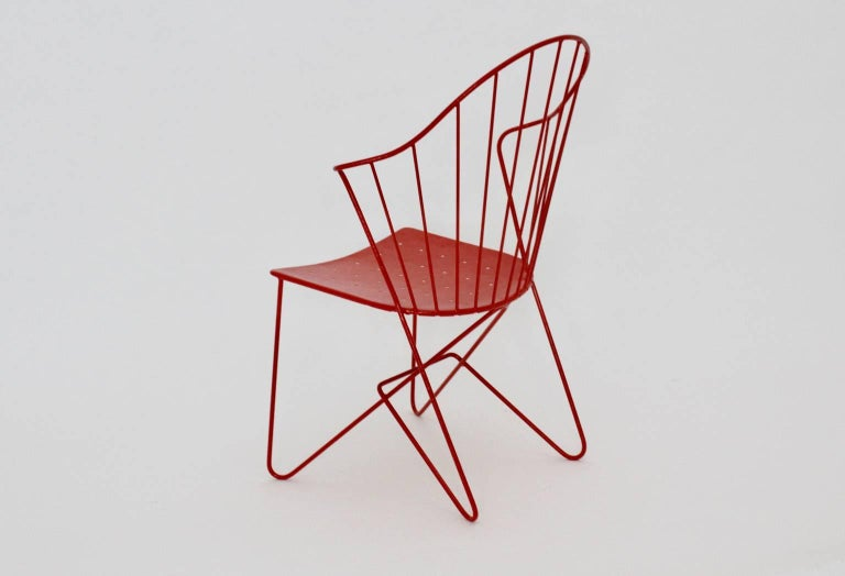 Red Astoria Vintage Side Chair by J.O.Wladar and V. Moedlhammer  Sonett c 1955 In Good Condition For Sale In Vienna, AT