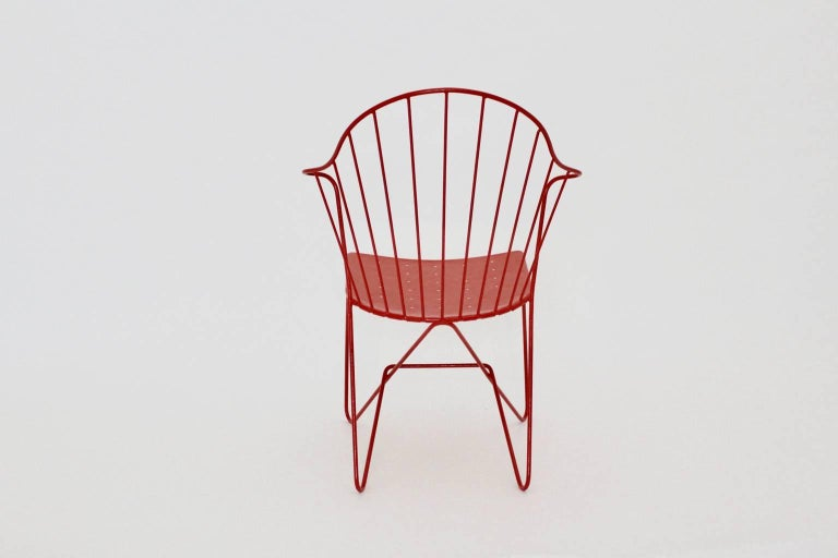 Mid-20th Century Red Astoria Vintage Side Chair by J.O.Wladar and V. Moedlhammer  Sonett c 1955 For Sale
