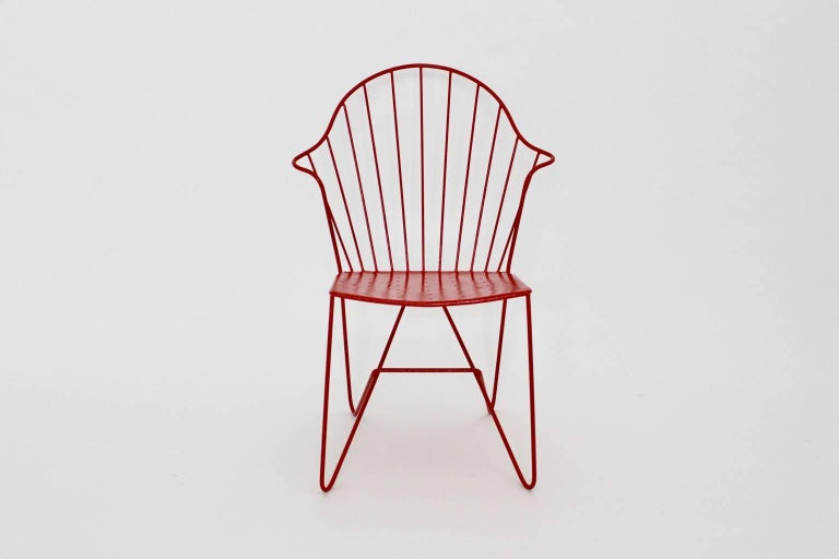 Wire Red Astoria Vintage Side Chair by J.O.Wladar and V. Moedlhammer  Sonett c 1955 For Sale