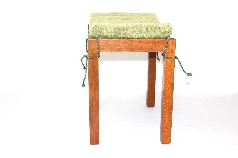 Thonet Oakwood Stool With Green Cushion Vienna Circa 1930