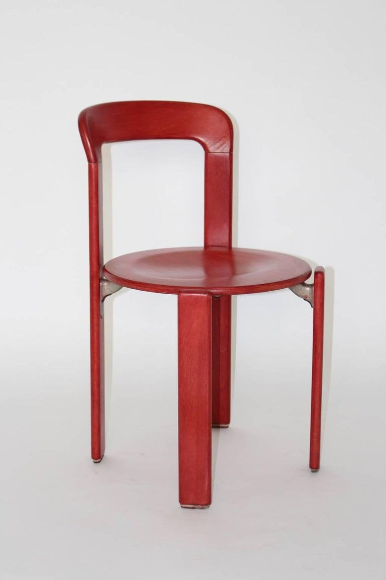 Red dining room chairs by bruno rey 1971 switzerland for for Red dining room chairs