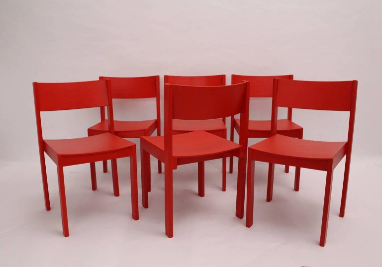 Mid-Century Modern Red Carl Auböck Dining Room Chairs, 1956, Vienna In Excellent Condition For Sale In Vienna, AT