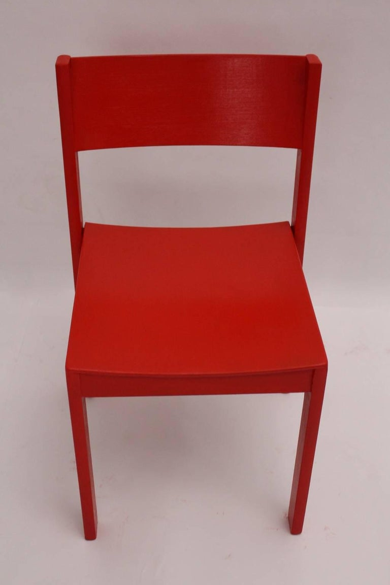 Beech Mid-Century Modern Red Carl Auböck Dining Room Chairs, 1956, Vienna For Sale
