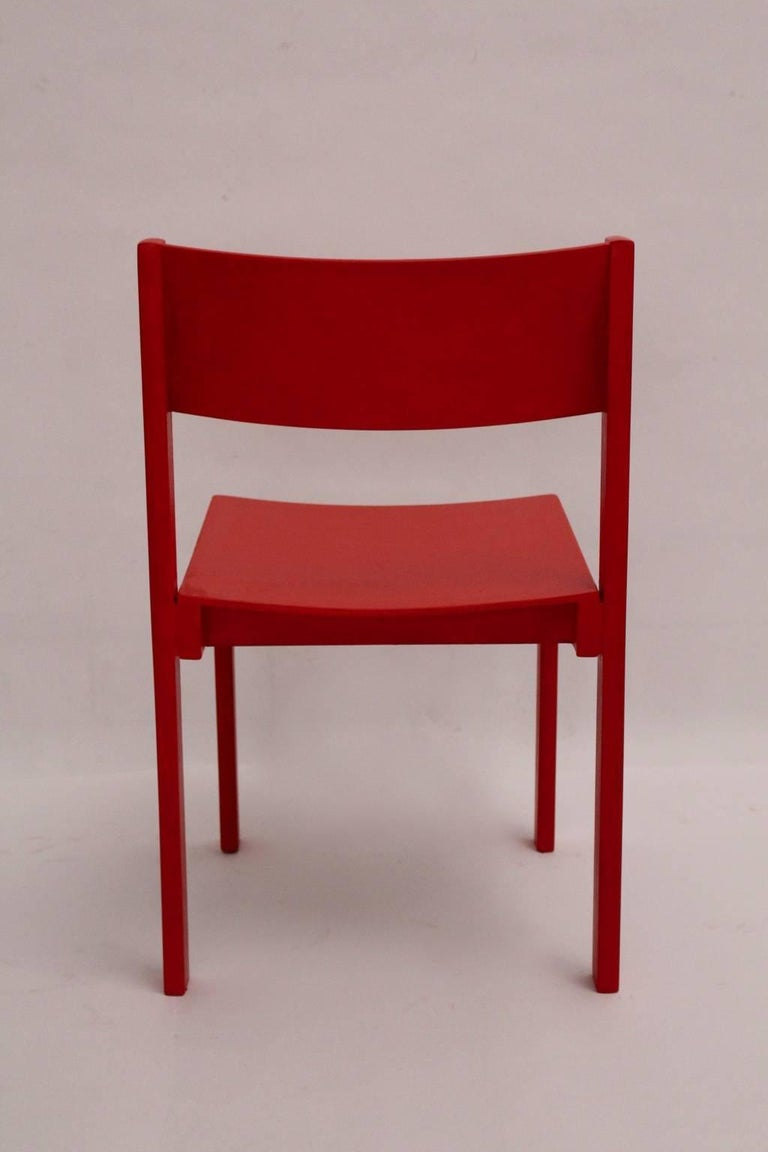 Mid-Century Modern Red Carl Auböck Dining Room Chairs, 1956, Vienna For Sale 1