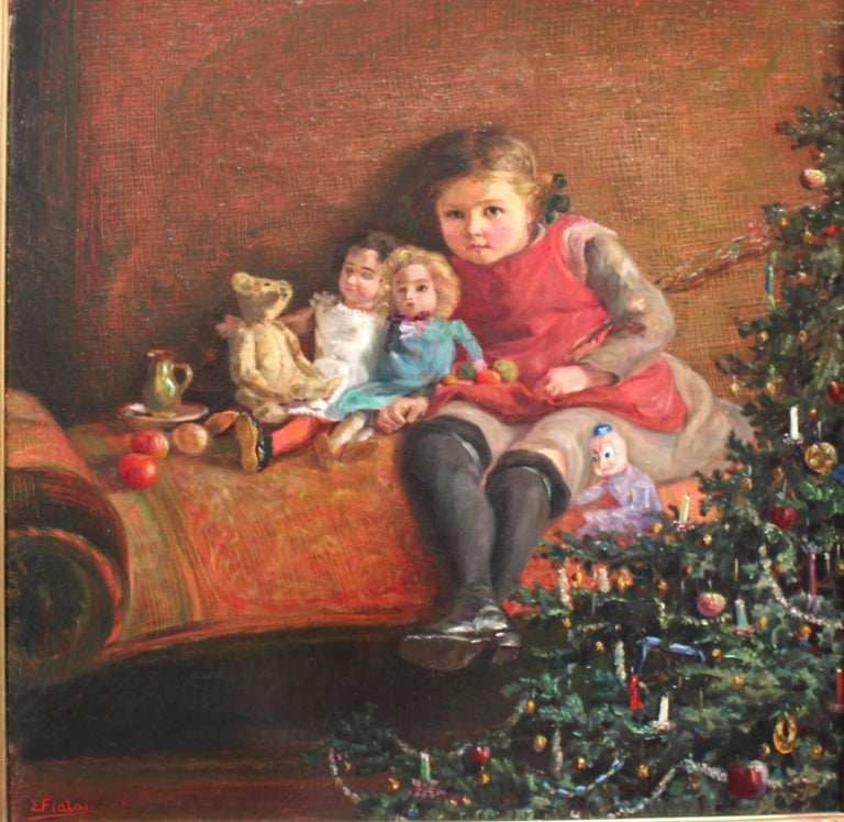 The motif shows the daughter of the artist named Renerl with her dolls sitting under the Christmas tree. At the corner the christmas tree was been decorated with littles candles and sweatmeat. Oil on canvas The artist Emil Fiala (1869 Moravia-1960