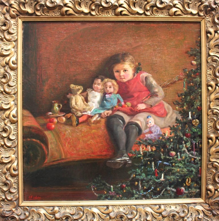 Austrian Art Deco Era Painting Dolls are Sitting under the Christmas Tree 1925 Vienna For Sale
