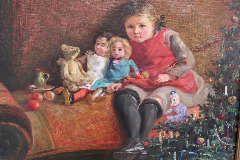 Art Deco Era Painting Dolls are Sitting under the Christmas Tree 1925 Vienna In Good Condition For Sale In Vienna, AT