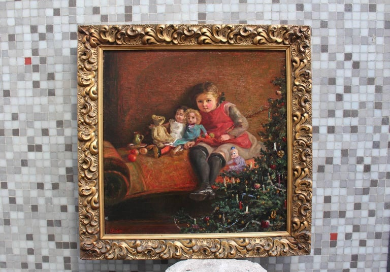 Early 20th Century Art Deco Era Painting Dolls are Sitting under the Christmas Tree 1925 Vienna For Sale