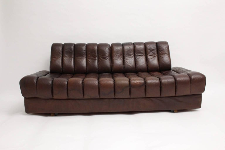 Mid-Century Modern De Sede DS 85 Brown Leather Daybed or Sofa 1970s, Switzerland For Sale