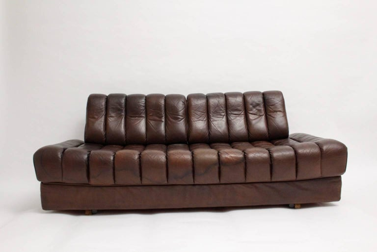 Swiss De Sede DS 85 Brown Leather Daybed or Sofa 1970s, Switzerland For Sale