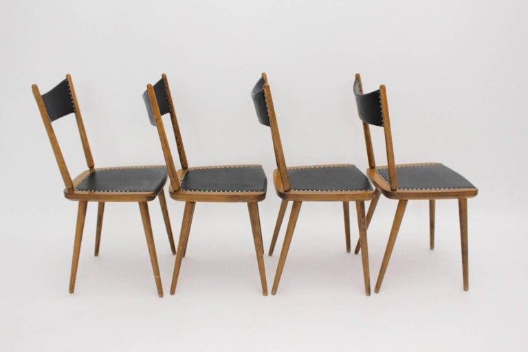 Austrian Mid-Century Modern Vintage Beech Dining Chairs, 1950s, Vienna For Sale