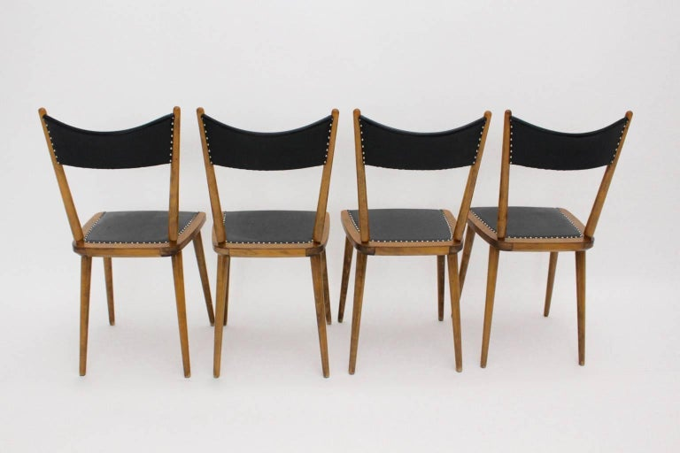 Mid-Century Modern Vintage Beech Dining Chairs, 1950s, Vienna In Good Condition For Sale In Vienna, AT