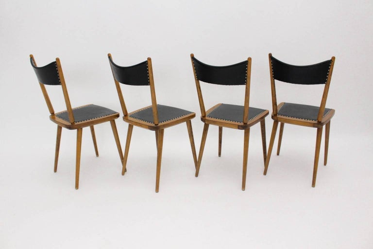 20th Century Mid-Century Modern Vintage Beech Dining Chairs, 1950s, Vienna For Sale