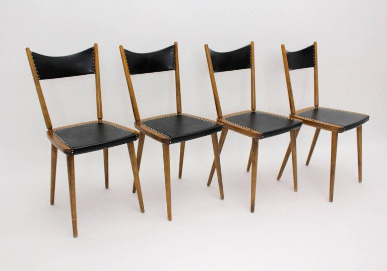 Mid-Century Modern Vintage Beech Dining Chairs, 1950s, Vienna For Sale 1