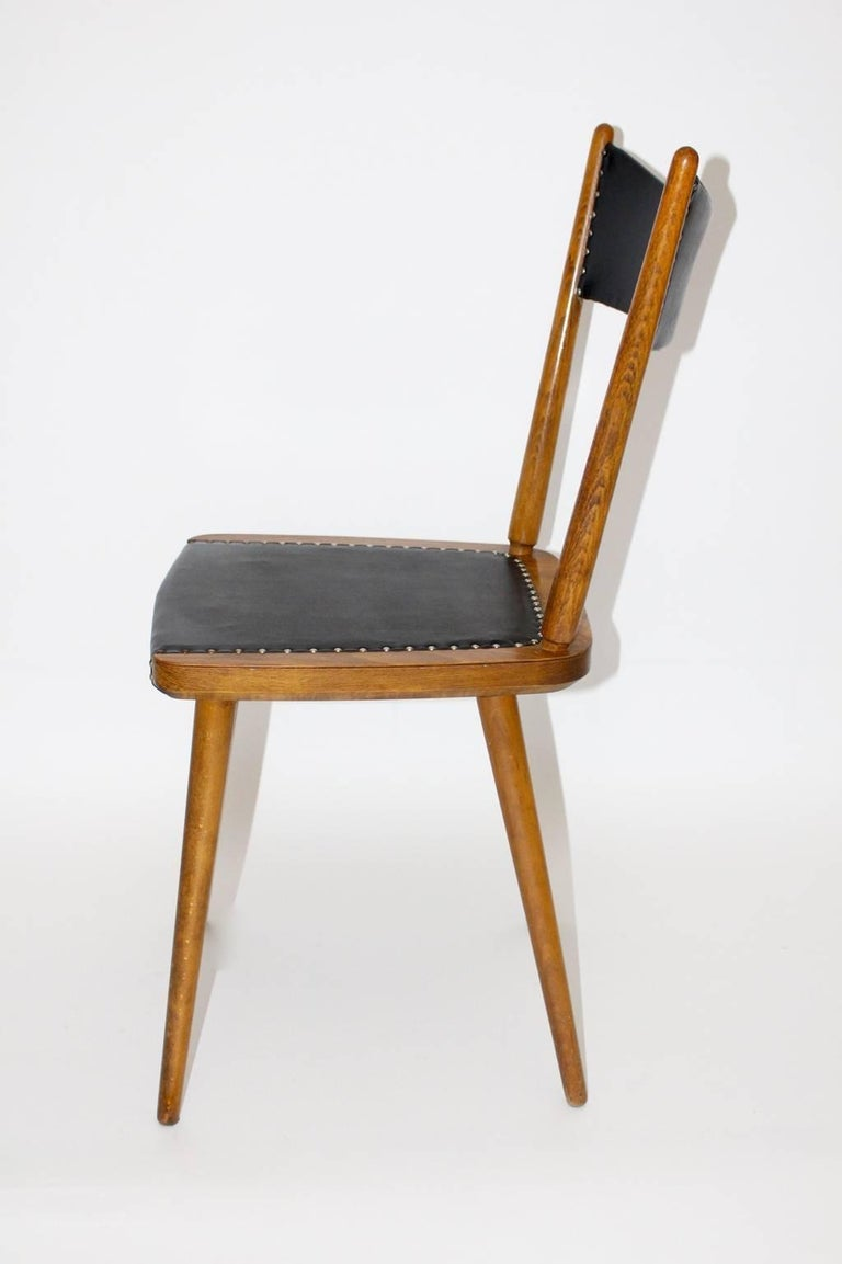 Mid-Century Modern Vintage Beech Dining Chairs, 1950s, Vienna For Sale 2