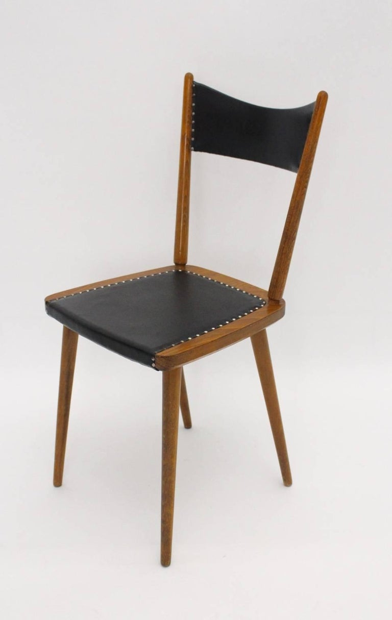 Mid-Century Modern Vintage Beech Dining Chairs, 1950s, Vienna For Sale 3