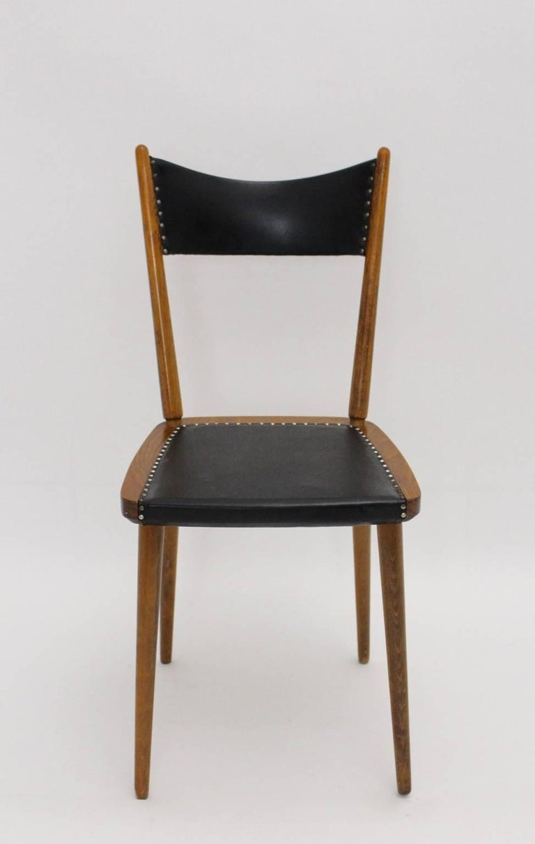 Mid-Century Modern Vintage Beech Dining Chairs, 1950s, Vienna For Sale 4