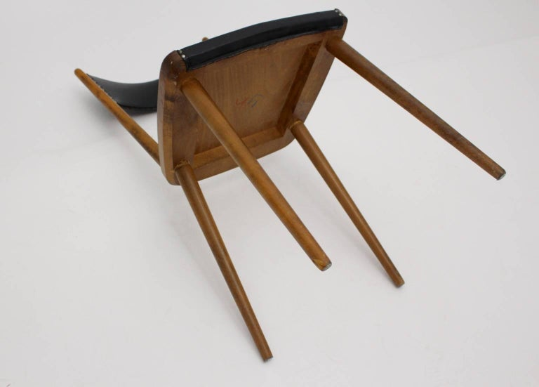 Mid-Century Modern Vintage Beech Dining Chairs, 1950s, Vienna For Sale 5