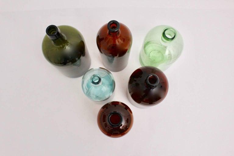 Early 20th Century Set of Six Art Deco Bottles 1920s, Austria For Sale