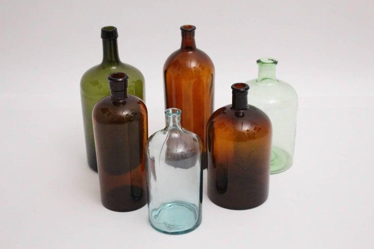 Blown Glass Set of Six Art Deco Bottles 1920s, Austria For Sale