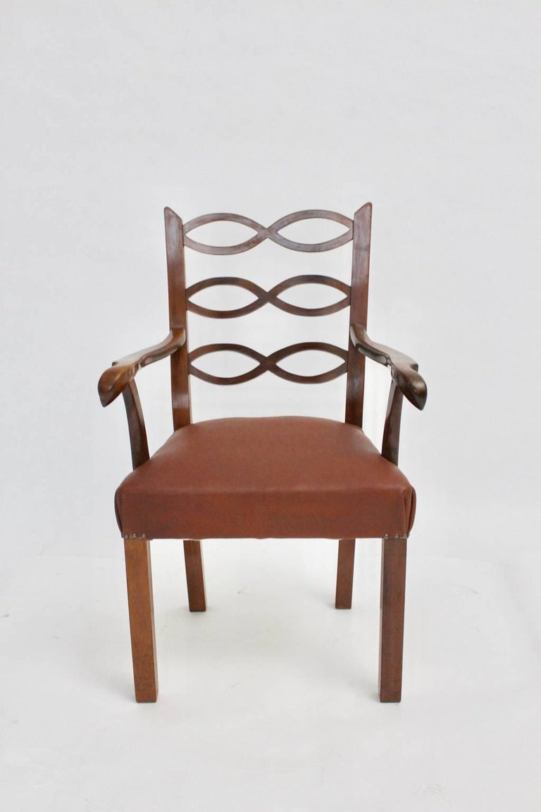 Early 20th Century Art Deco Armchair by Hugo Gorge Vienna, circa 1920 For Sale