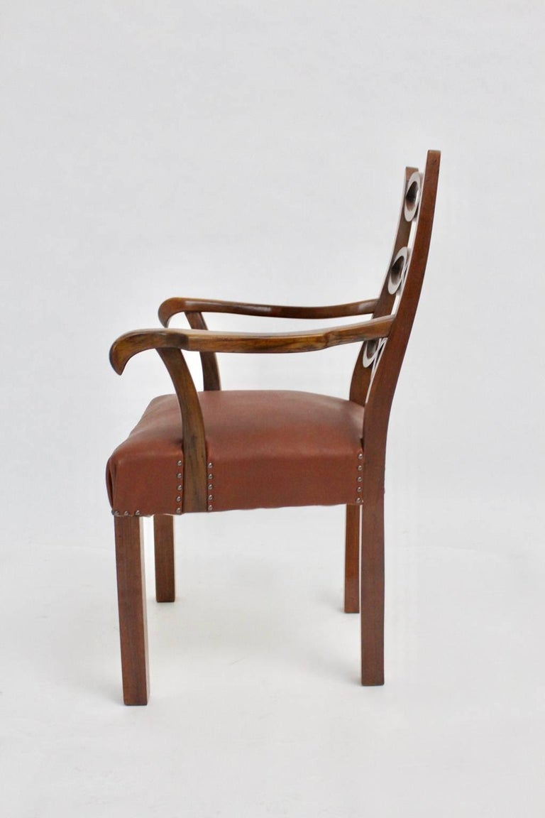Leather Art Deco Armchair by Hugo Gorge Vienna, circa 1920 For Sale
