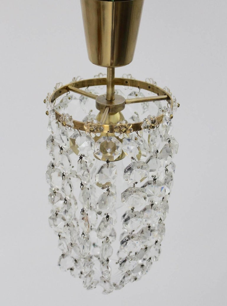 Mid-Century Modern Crystal Glass Chandelier by Bakalowits & Soehne Vienna, 1950s For Sale