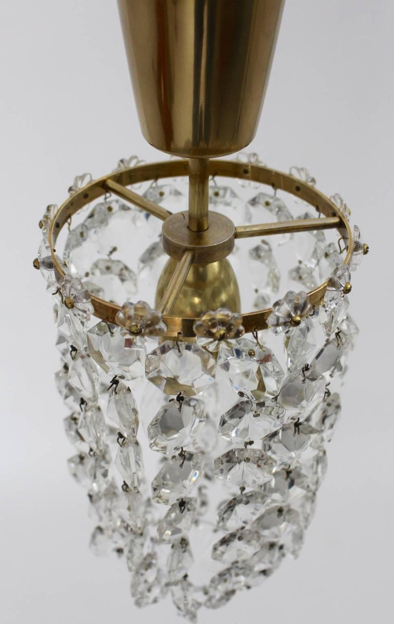 Crystal Glass Chandelier by Bakalowits & Soehne Vienna, 1950s In Good Condition For Sale In Vienna, AT