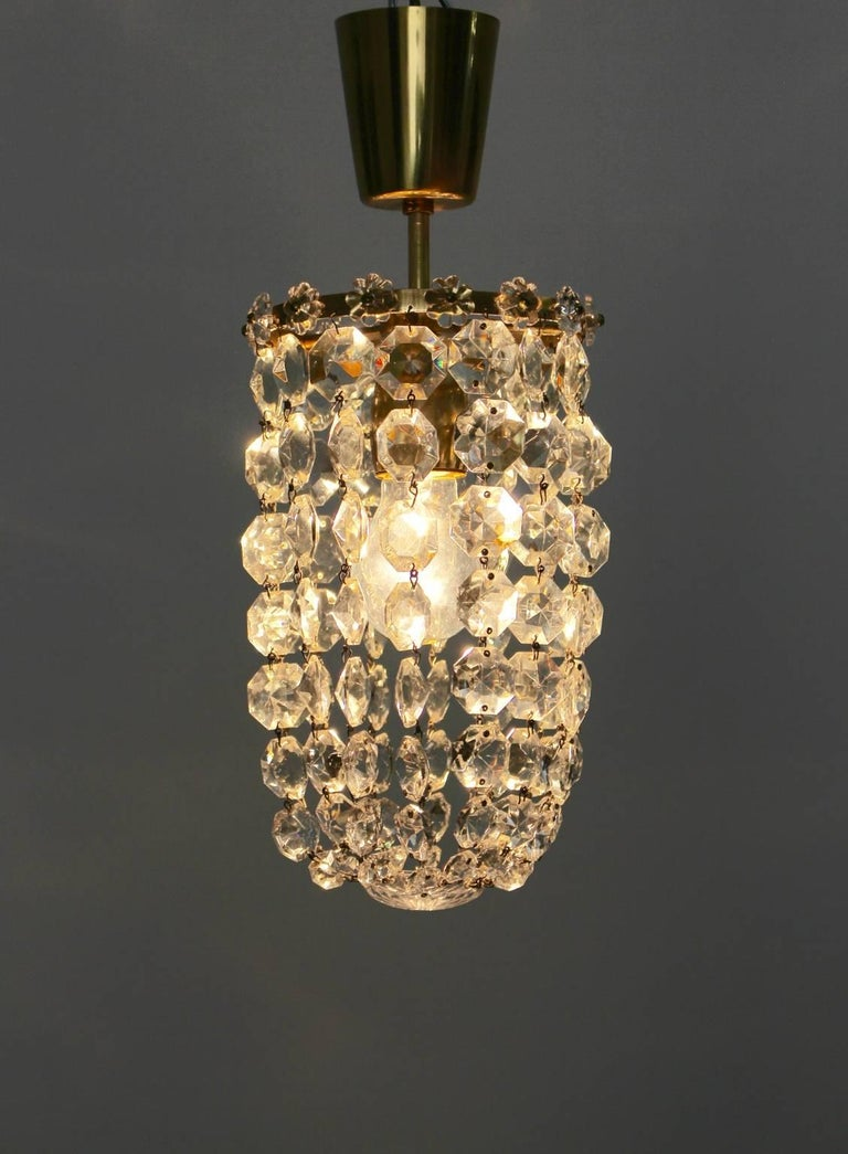Brass Crystal Glass Chandelier by Bakalowits & Soehne Vienna, 1950s For Sale