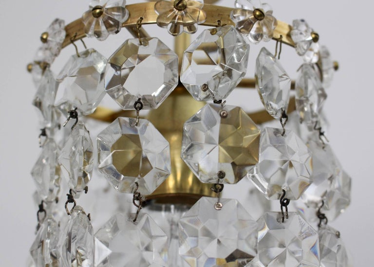 Crystal Glass Chandelier by Bakalowits & Soehne Vienna, 1950s For Sale 1