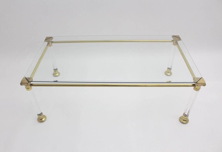 Mid-Century Modern Hollywood Regency Lucite Coffee Table, Italy, 1970s For Sale