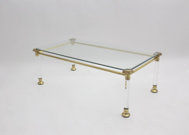 Late 20th Century Hollywood Regency Lucite Coffee Table, Italy, 1970s For Sale