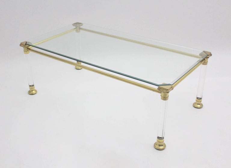 Brass Hollywood Regency Lucite Coffee Table, Italy, 1970s For Sale