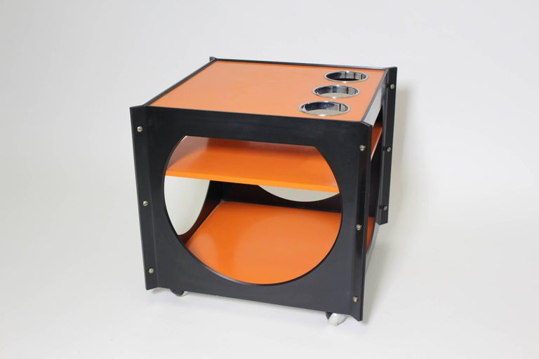 Mid-20th Century Space Age  Orange and Black Vintage Plastic Bar Cart, Germany, 1960s For Sale