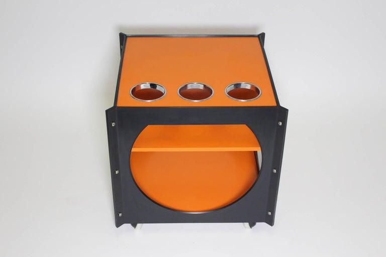Space Age  Orange and Black Vintage Plastic Bar Cart, Germany, 1960s For Sale 1