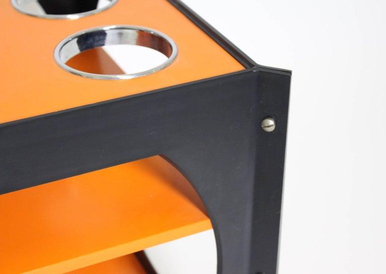 Space Age  Orange and Black Vintage Plastic Bar Cart, Germany, 1960s For Sale 2