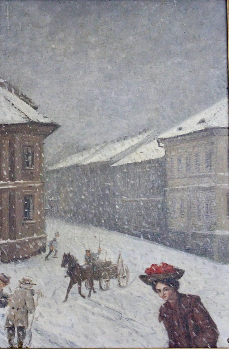 This presented oil painting by Emil Fiala shows a winter scene in Gersthof (district part in Vienna).