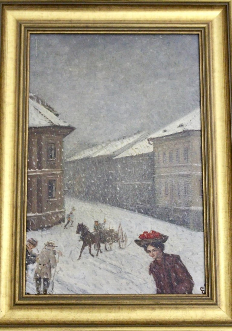 Jugendstil Winter in Vienna by Emil Fiala, 1906 For Sale