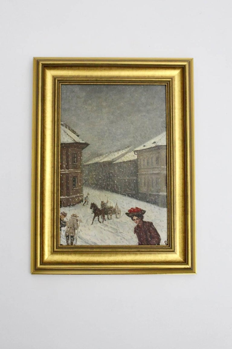 Austrian Winter in Vienna by Emil Fiala, 1906 For Sale