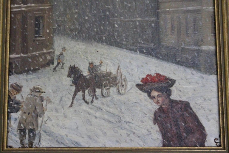 20th Century Winter in Vienna by Emil Fiala, 1906 For Sale
