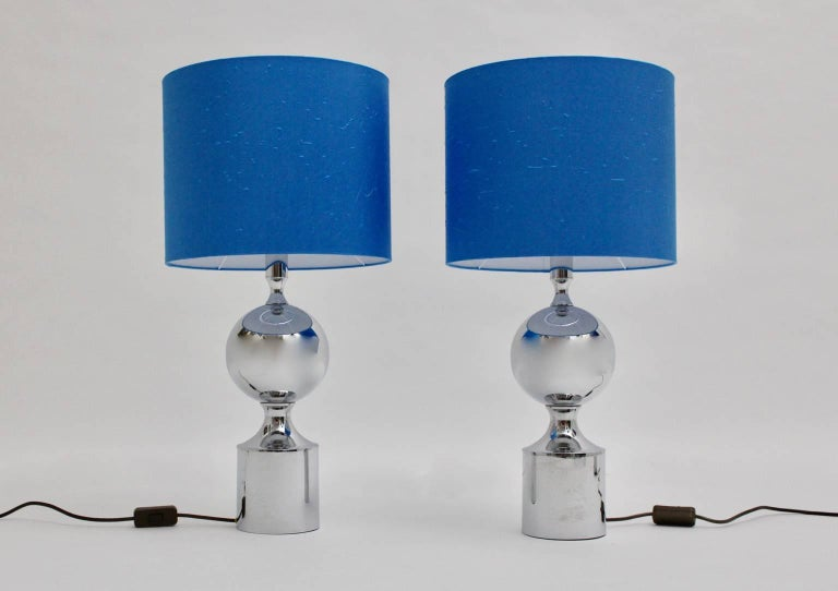 Mid-Century Modern Chromed Table Lamps 1960s France with Blue Shades For Sale