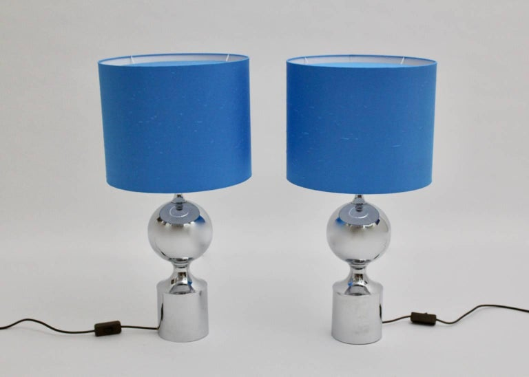 French Chromed Table Lamps 1960s France with Blue Shades For Sale